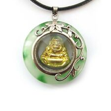 Green Jade Alloy Metal Tibet Buddhist Laughing Buddha Amulet Pendant
