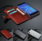 Luxury Leather Wallet Card Holder Flip Cover Stand Case For Sony Xperia