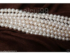 """1 Strands 9-10 MM Real Natural White Akoya Cultured Pearl Loose Beads 15"""" AA+"""