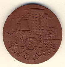 DDR - Ehrengabe für ZIVILVERTEIDIGUNG - Kraftwerk, Kran, Mähdrescher - PORZELLAN