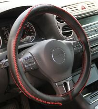 Black PVC Leather Steering Wheel Red Stitch Wrap Cover Needle+Thread DIY Chevy