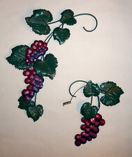 2 - HOMCO Home Interiors Metal Grape Cluster Vines Picture Accents Wall Decor