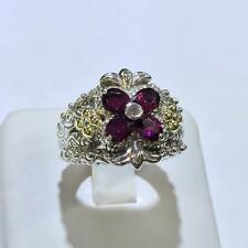 NEW BARBARA BIXBY FLOWER GARNET  RING STERLING & 18K GOLD NEW SIZE 7