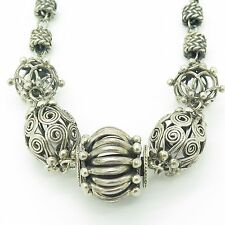 Suarti Vintage Sterling Silver Large Handmade Bead Design Wheat Chain Necklace
