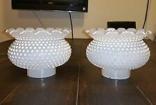 """Two White Milkglass Hobnail Hurricane Shades/Globes 3"""" Fitter Wide Top"""