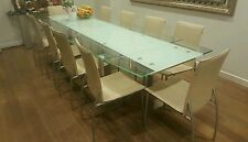 Glass dining table with 10 leather dining chairs