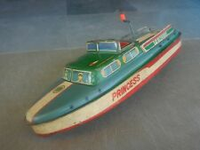 Vintage Princess ITO ASC 732  Litho Mechanical Boat Tin Toy , Japan