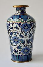 SMALL Chinese 20th C. cloisonné Vaso Blue & Green Floral DECOR on white ground