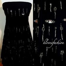 RED HERRING Debenhams Black Dress Bead Special Sparkle Wedding Cocktail UK 8