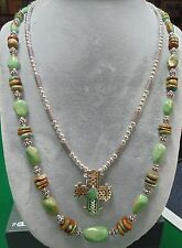 BEADED PARROT STUNNING DUO TURQUOISE AND .925 STERLING SILVER CROSS NECKLACE