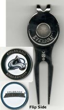 """Colorado Avalanche 1"""" Golf Ball Marker 2 sided with Divot Tool w/Clip NHL"""