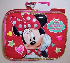 Disney MINNIE MOUSE Deluxe LUNCH BAG Lunchbag Case Tote Pink/Red Gold Trim NEW!!