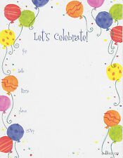 LET'S CELEBRATE PARTY INVITATIONS Birthday Fill-In Adult Cards Balloons NEW
