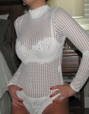 New Sexy White Mock Neck MESH Sheer Long Sleeves Stretch Layer Bodysuit Top