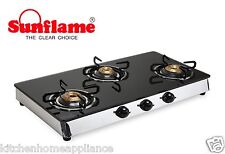 Sunflame Classic Three Burner Glass Top Gas Stove 3 Burner