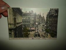 Vintage Colour Tinted PC Corporation Street, Birmingham Franked & Stamped 1905