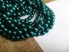 Teal Beads Glass Pearls 6mm Emerald Pearls Glass Beads Bulk Beads Wholesale 140p