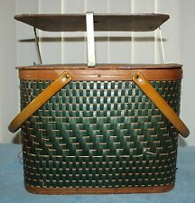 Vintage Hawkeye By Burlington Picnic Basket W/ Pie Shelf - Square