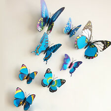 12pcs Removable 3-dimensional 3D butterfly wall stickers w/ fridge magnet -Blue