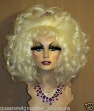 Drag Queen Costume Party Wig Medium Length Curls Bangs Teased Out White Blonde