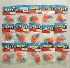 15 SETS OF METAL STEEL JACKS WITH SUPER RED RUBBER BALL GAME CLASSIC TOY KIDS