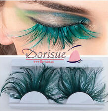 Double Lip Black WIth Green one pair Feather eyelashes Extra extension Halloween