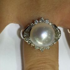 Pre Owned 18k Solid White Gold Natural South Sea Pearl Ring with Diamond 8 US
