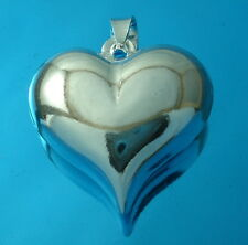 925 Sterling Silver Plain Puffed Heart Pendant  23mm x 23mm  Charm Jewellery