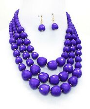 Three Layers Purple Faceted Lucite Bead Gradual Chunky Necklace Earring