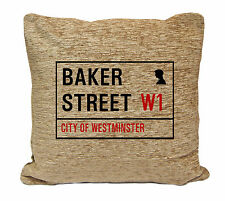 BAKER ST SIGN ON A CUSHION.DOUBLE SIDED FOR THE HOME.INC PADDING 55CM SHERLOCK