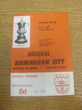 09/03/1968 Arsenal v Birmingham City [FA Cup] (Attendance Noted On Cover & Team