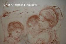 Mother and Two Boys Artists Proof  Lithograph  pre 1974  by Edna Hibel