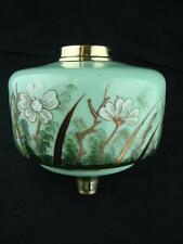 ANTIQUE GLASS OIL LAMP FONT SUPERB HAND PAINTED / ENAMELLED FLORAL DECORATION