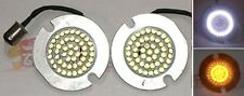 White/Amber Dogeye Haloz Front Turn Signal LED Clusters for Flat Style H-D