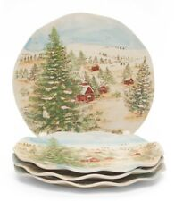BRAND NEW SET OF 4 MAXCERA SNOWVILLE  HOLIDAY CHRISTMAS DINNER PLATES