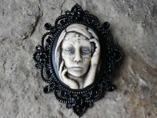 GYPSY ZOMBIE WOMAN HAND PAINTED CAMEO PENDANT - BLACK SETTING - GOTH, SKELETON