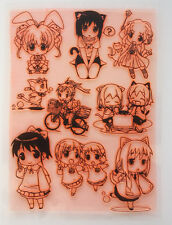 "Clear Stamps Sheet 7""x10"" ~ Anime Chibi Manga Kawaii FLONZ Vintage Rubber403-113"