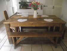 SOLID HANDCRAFTED RUSTIC HARWOOD DINING TABLE/ BENCH made FROM RECLAIMED WOOD