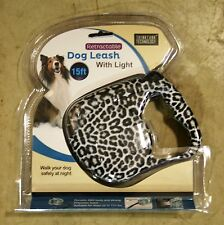 WHITE LEOPARD PRINT 15 FT RETRACTABLE DOG LEASH W/ LED FLASHLIGHT (NEW) L@@K!!!