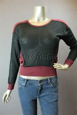 New with Tag MINK PINK Black Maroon Stretchy Sheer Ruched Side Sweater Top Small