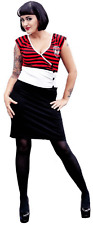 77555 Kool Yer Jets Striped Sugar Skull Stripes Dress Pinup Goth Punk Small S