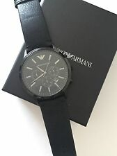 NWT Emporio Armani AR2461 Mens All Black Leather Strap Dial Chronograph Watch