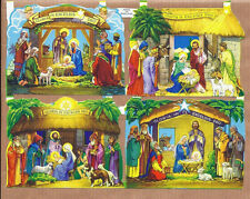 SET of 4 SCRAPs NATIVITY Gloria in Excelsis Deo CRECHE old vintage Sheet MLP