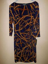 NWT RALPH LAUREN WOMENS DRESS 3/4 SLEEVE LRL LOGO CHAIN NAVY BLUE STRETCH SZ 12
