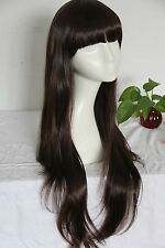 Premium Full Head Wig - Straight, Long, Brown Hair, Blunt Bangs