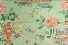 """Fab Chinoiserie Celedon Green Glazed Chintz Fabric w/ Flowers in Vases"""