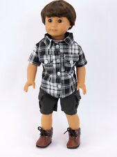 "Black and White Short Set Doll Clothes made for 18"" American Girl Boy Doll New"