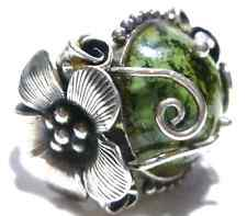 "DESIGNER ""CFJ"" ORNATE LARGE STERLING SILVER FLOWER IRISH IRELAND INSPIRED RING"