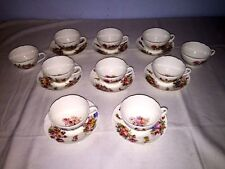 Coalport England China AD1750 ~ Cups & Saucers (8 Sets) ~ Floral w/Embossed Rim