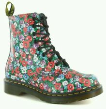 Dr Doc Martens Pascal Wild Poppy Floral Flowers 8 Eyelet Leather Boots US 7 UK 5